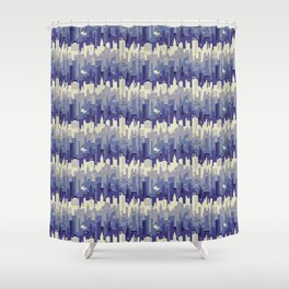 Amethyst abstract city ladscape Shower Curtain