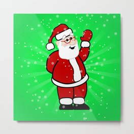 Christmas Santa in Red Suit Green Background Snow Metal Print