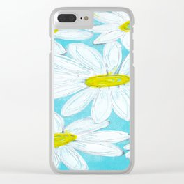 DAISIES AGAINST BLUE SKY Clear iPhone Case