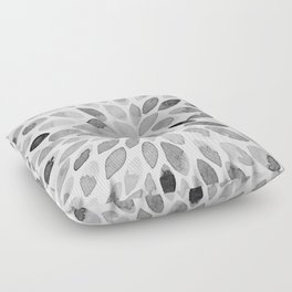Watercolor brush strokes - black and white Floor Pillow