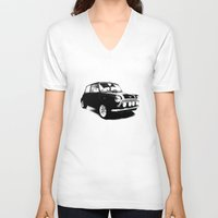 mini cooper V-neck T-shirts featuring The Mini Cooper by Mark Rogan