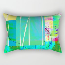 Turquoise Collage Overlay Abstract Rectangular Pillow