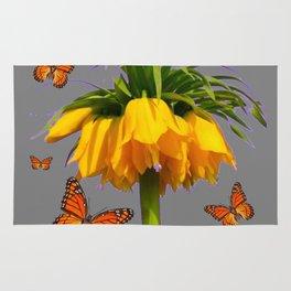 ORANGE MONARCH BUTTERFLIES CROWN IMPERIAL FLOWER Rug