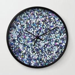 Blue Glitter Wall Clock