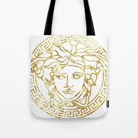 versace Tote Bags featuring Versace White by InteriorEpiphanies