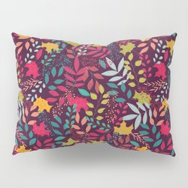 Autumn seamless pattern with floral decorative elements, colorful design Pillow Sham