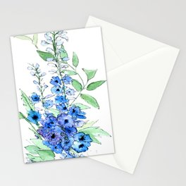 Delphinium Illustration Watercolor Painting Stationery Cards
