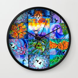 Patchwork of my paintings! Wall Clock