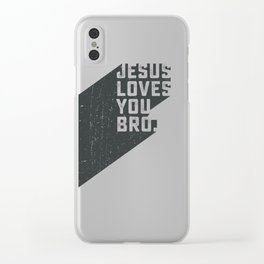 Jesus loves you bro Clear iPhone Case
