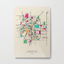 Colorful City Maps: Edmonton, Canada Metal Print