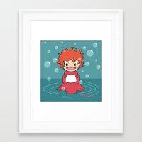 ponyo Framed Art Prints featuring Kokeshi Ponyo by Pendientera