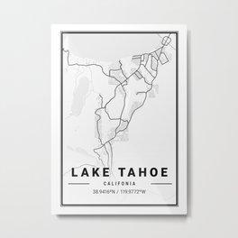 Lake Tahoe Light City Map Metal Print