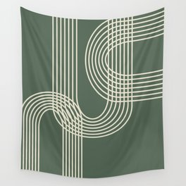 Minimalist Lines in Forest Green Wall Tapestry