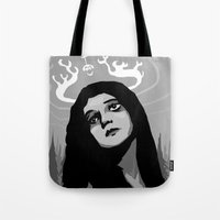 antler Tote Bags featuring Annie Antler by Stephan Brusche