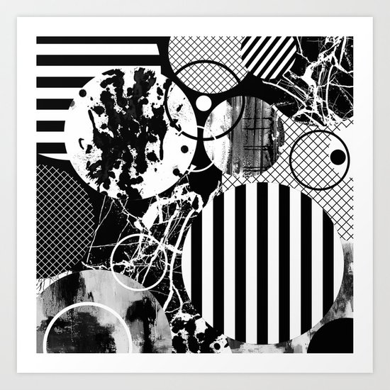 Black And White Choas - Mutli Patterned Multi Textured Abstract Art Print