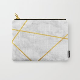 White Carrara marble with gold lines Carry-All Pouch