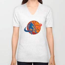 Basketball Player Dribbling Ball Woodcut Retro Unisex V-Neck