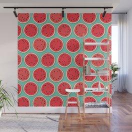 watermelon polka mint Wall Mural