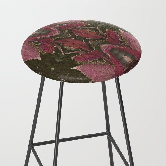 Red Shiso Warm Tones Pattern Bar Stool