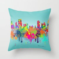 new york Throw Pillows featuring NEW YORK, NEW YORK by mark ashkenazi