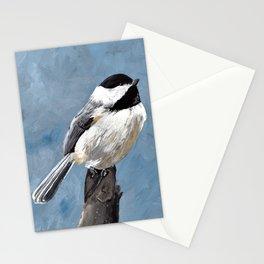 Chickadee Original Acrylic Art on Canvas,Bird Painting, Chickadee Wall Art, Bird on a Branch Stationery Cards