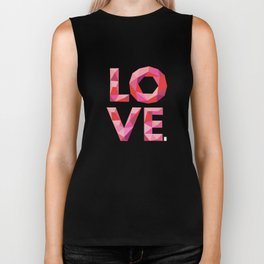 Red Faceted Love Stacked Biker Tank
