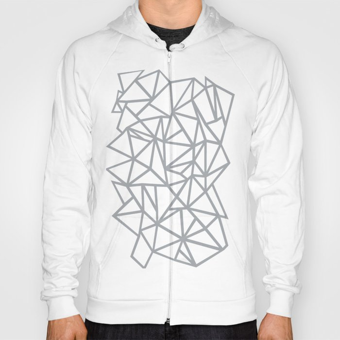 08d7304d12d6 Abstract Outline Thick White on Grey Hoody by projectm | Society6
