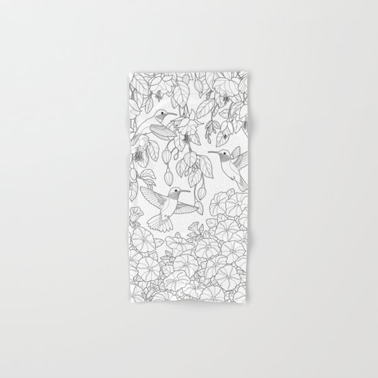 Hummingbirds and Flowers Coloring Page Hand & Bath Towel