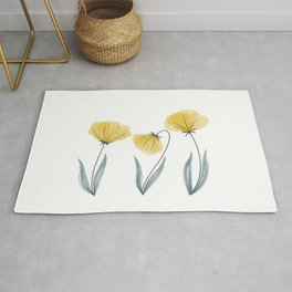 Spring Flower Trio Yellow  Rug