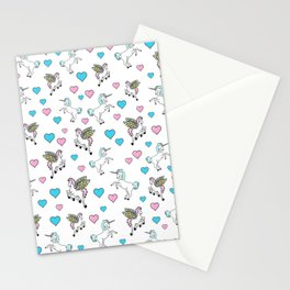 Unicorns and Pegasus and Hearts Stationery Cards