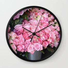 Paris Pink Roses French Market Roses  Wall Clock