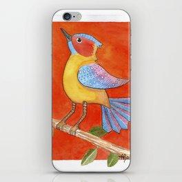 Bird with orange background iPhone Skin