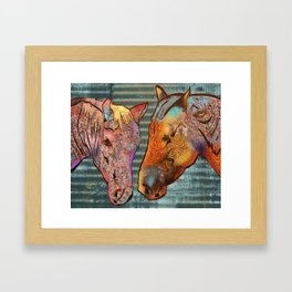 Two horses - Farm Animal Series Framed Art Print