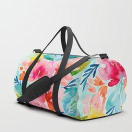 Neon Floral Duffle Bag