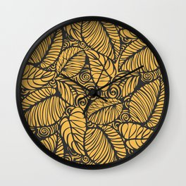 Summer Leaves Gold Wall Clock