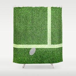 """""""IN"""" – Hawk-Eye - green Shower Curtain"""