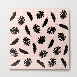 Graphic Tropical Leaves on Grid Black and Pink Metal Print