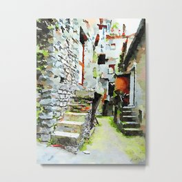 Buildings with stone stairs in the alley Metal Print
