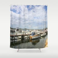 boats Shower Curtains featuring Moored Boats by Chris' Landscape Images & Designs