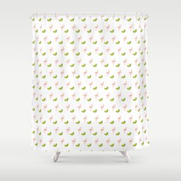 Kiwi flamingos Shower Curtain