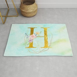 Gold Foil Alphabet Letter H Initials Monogram Frame with a Gold Geometric Wreath Rug