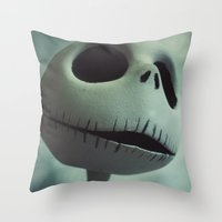 nightmare before christmas Throw Pillows featuring Jack Skellington (Nightmare Before Christmas) by LT-Arts