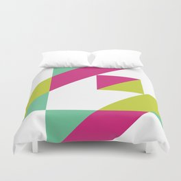Hot Pink and Neon Chartreuse Color Block Duvet Cover