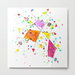 Abstract Arrows and Lines Watercolour Expressionist Art Metal Print