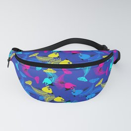 Fishes in blue love Fanny Pack