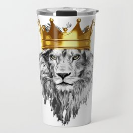 lion with a crown power king Travel Mug