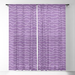 Purple with White Squiggly Lines Sheer Curtain