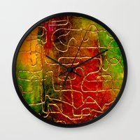 labyrinth Wall Clocks featuring Labyrinth by Chicca Besso