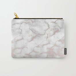 Rose Gold Pink & Grey Marble Carry-All Pouch
