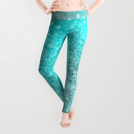 Aqua Teal Ocean Glitter #1 #shiny #decor #art #society6 Leggings
